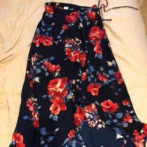 Floral wrap around maxi skirt